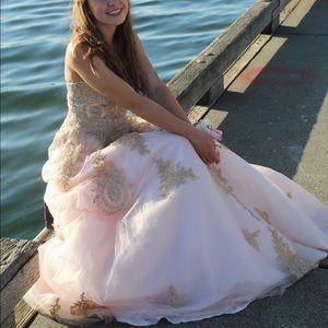 Pink floor length prom dress